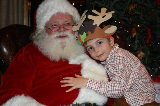 Freddy Wacker hugs Santa goodbye