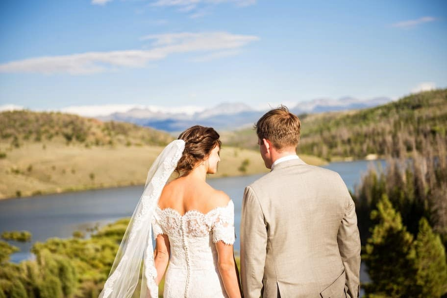 Ranch wedding with a view