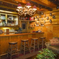 The bar in the Main Lodge at C Lazy U