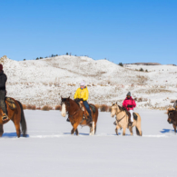winter trail group riding
