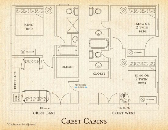 Floorplan for Crest Cabin at C Lazy U Ranch