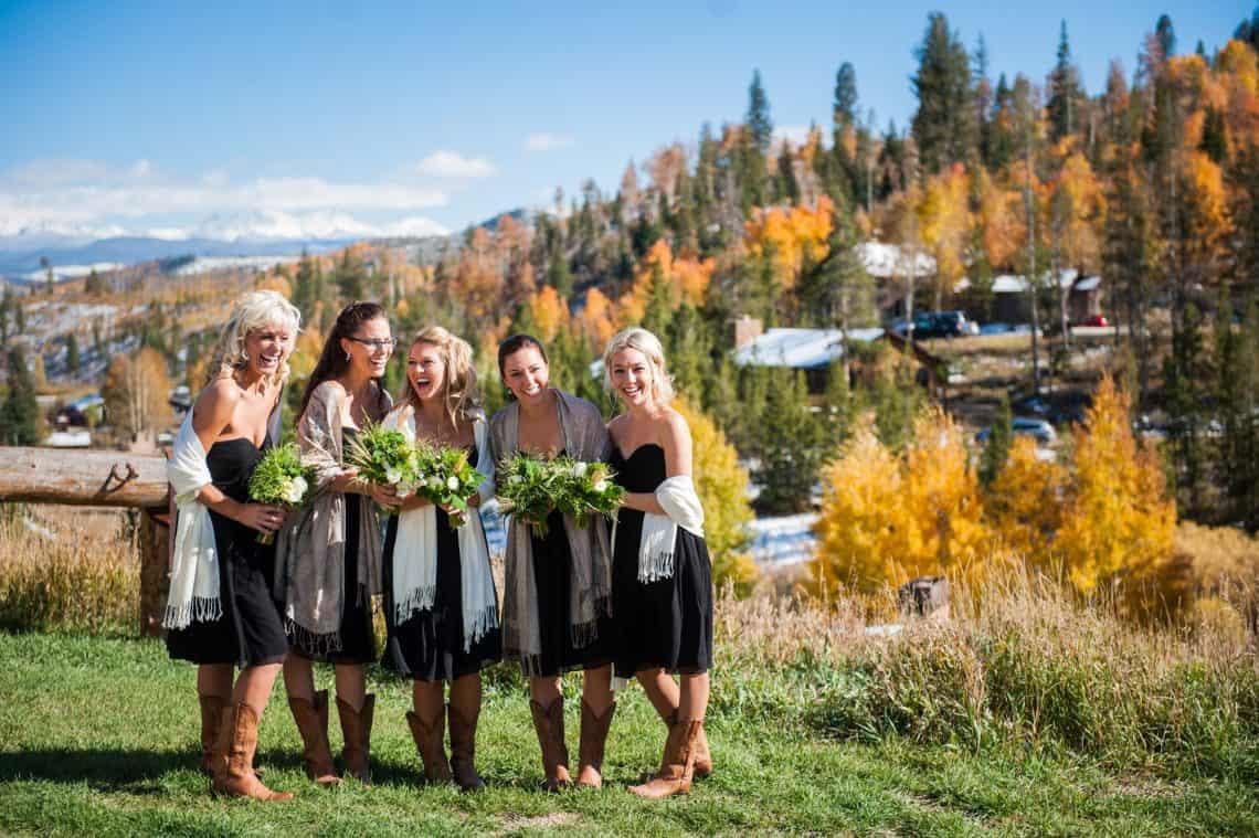 fall ranch wedding bridal party