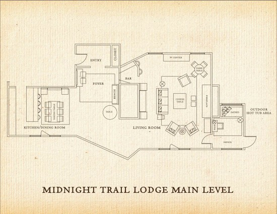 Lower level of the Midnight Trail Lodge