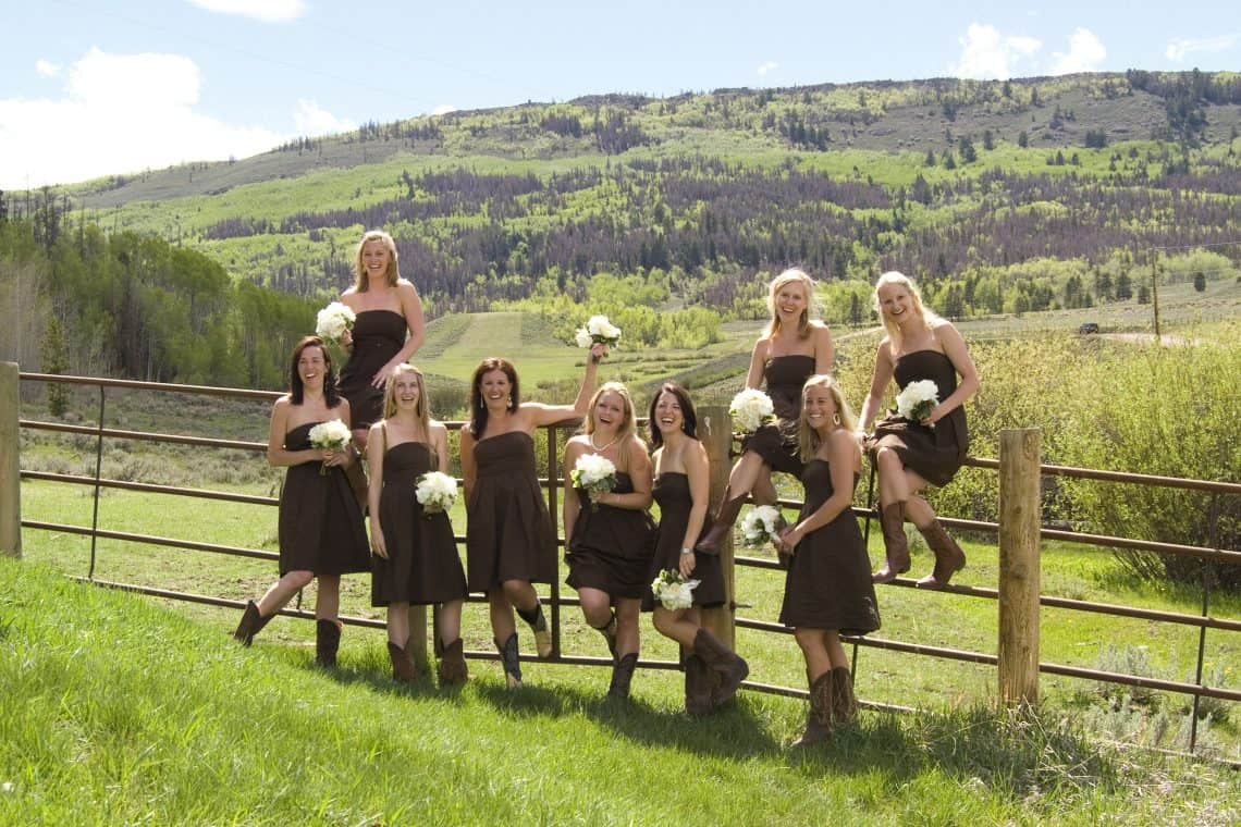 ranch wedding bridal party