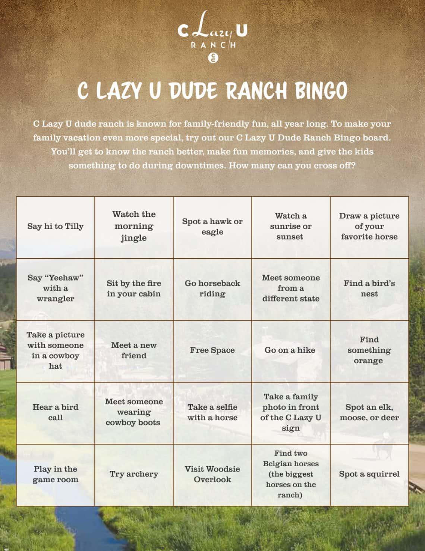 c lazy u bingo
