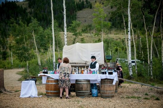 Cocktail hour at a ranch wedding