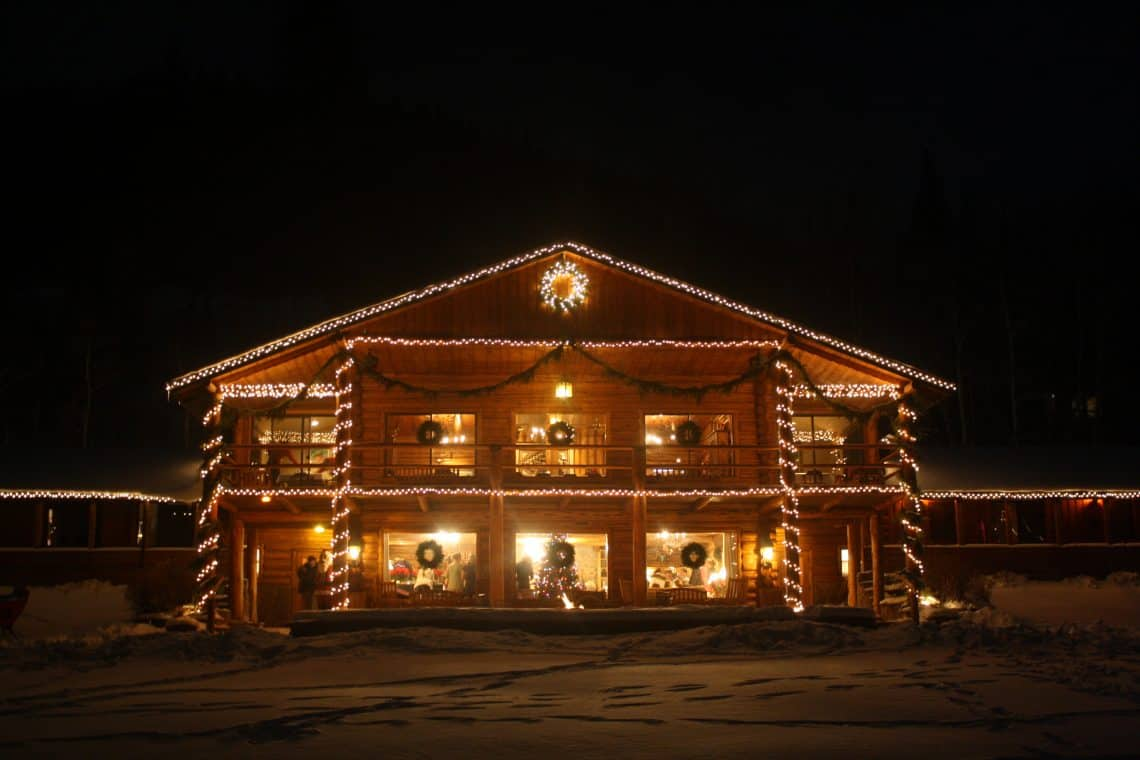cabin with all the christmas lights
