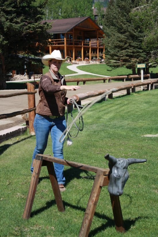 Here's Tami practicing her roping skills on our fake cow- looks like she's throwing a shot! Go get 'em, Tami!