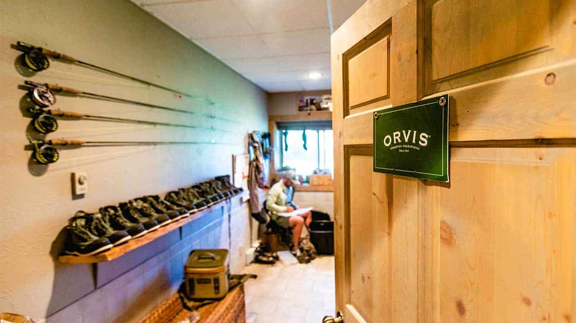 The equipment room at our Orvis-endorsed fly fishing ranch