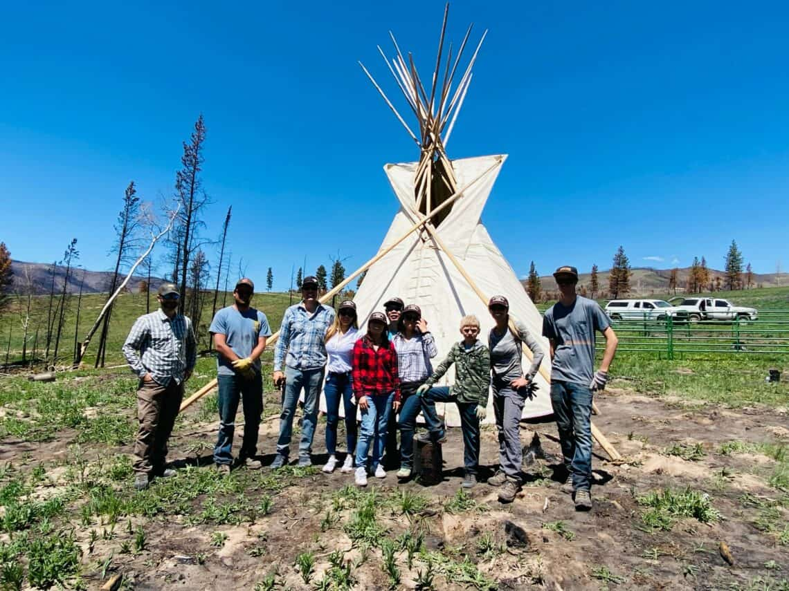 group after the teepee was made