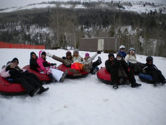 12 tubers get excited for their first run down our tubing hill.
