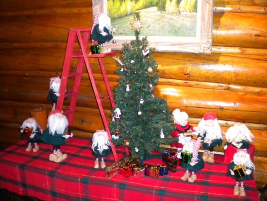 the traditional display of the 10 ranch elves, preparing for Christmas in the Lodge Lounge.