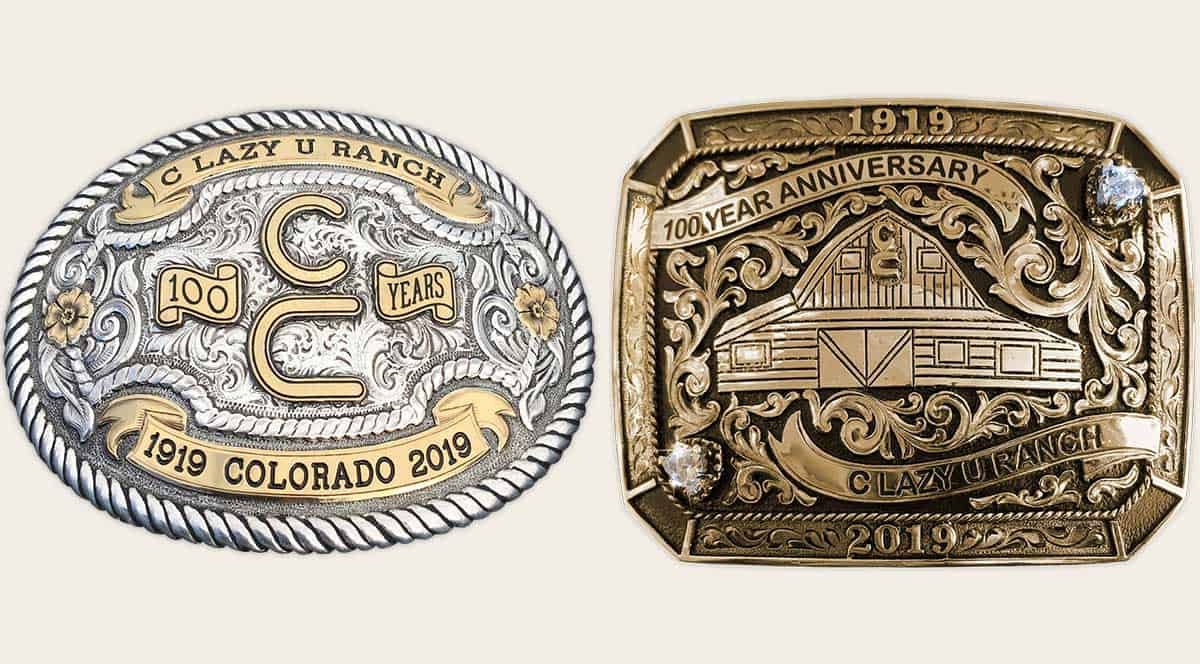 Two belt buckles 100 year anniversary
