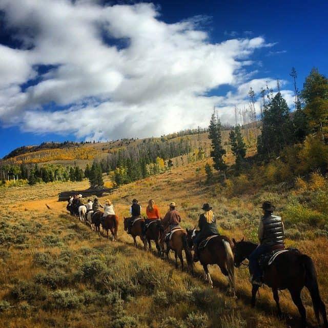 Horseback trail ride in Fall