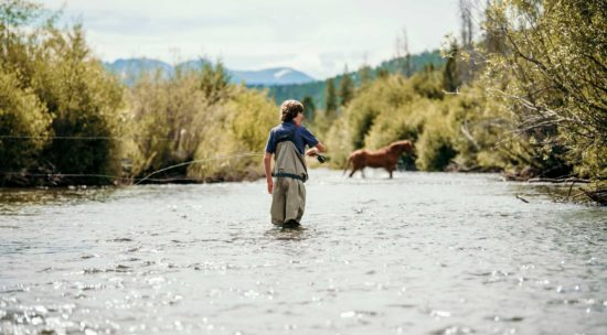 Fly fishing with a horse in the river