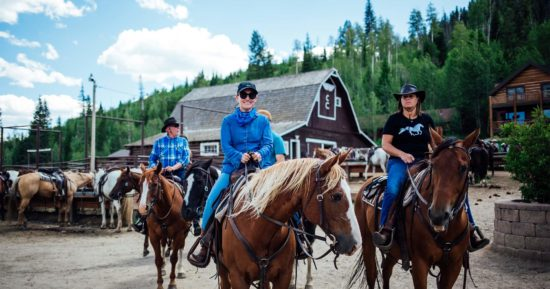 Adult horseback riders are ready for the trail