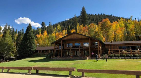 The ranch lodge, adorned with nature's fall colors