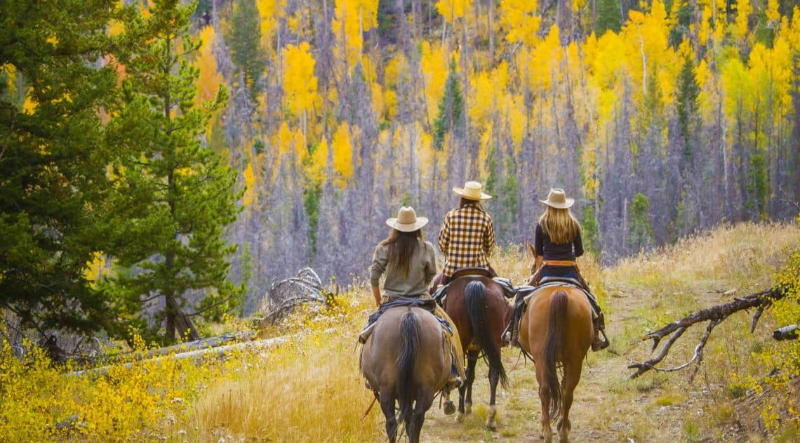 Group of people horseback riding in the fall