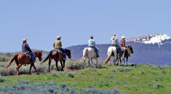Group of people admiring view on horseback