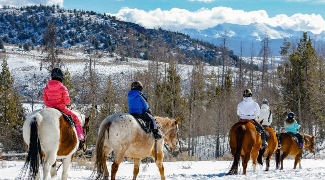 winter trail ride on horseback