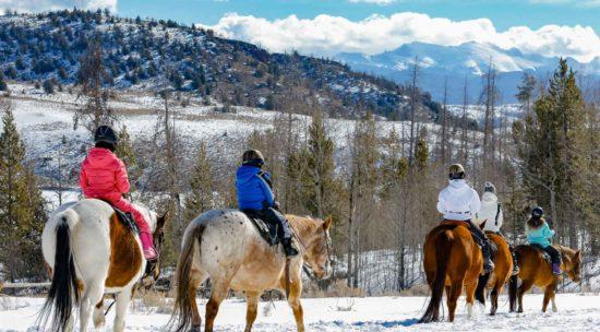 winter trail ride on horseback