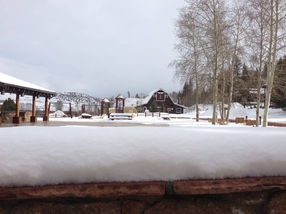 c lazy u ranch with snow covered