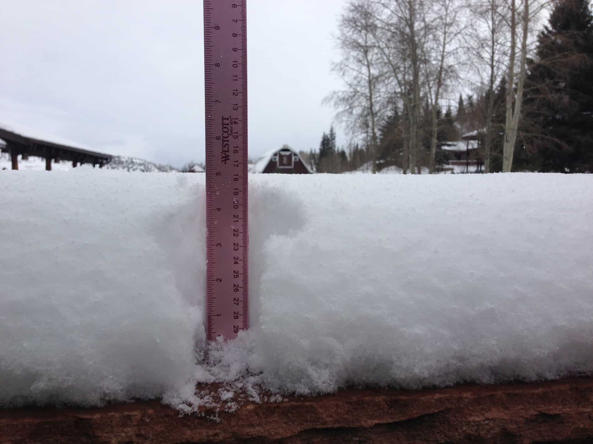 ruler with amount of snow