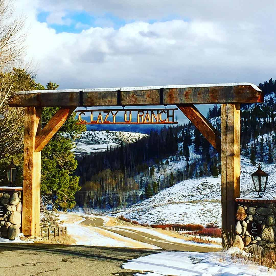 The C Lazy U Ranch entrance sign in November