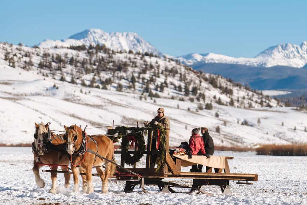 Sleigh ride in winter at C Lazy U