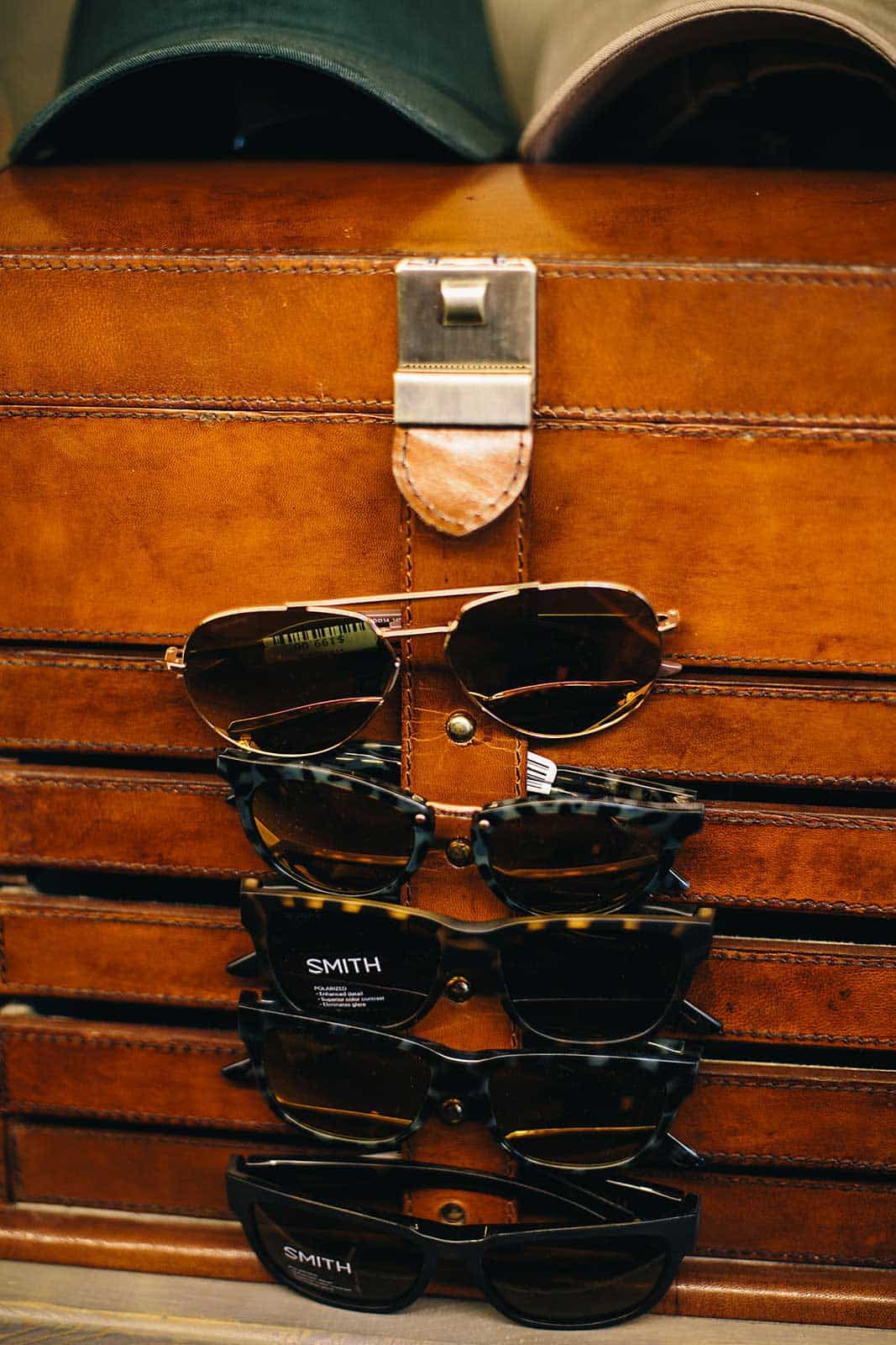 a display of sunglasses in the ranch store
