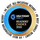Rated #6 All-Inclusive, #8 Family, #9 Best Destination Resort by the 2020 USA Today 10Best Readers Choice Awards