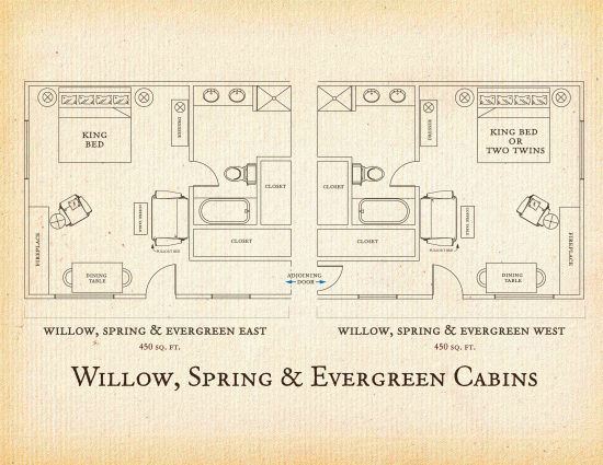 Floorplan for Willow, Spring and Evergreen Cabins