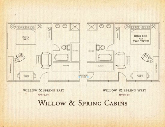 Floorplan for Willow and Spring cabins