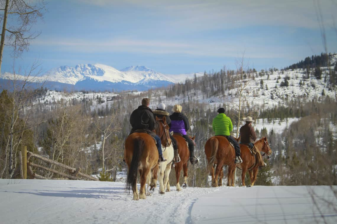 winter horse back riding