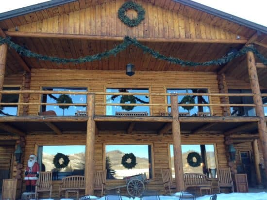 7 wreaths adorn the front of the lodge